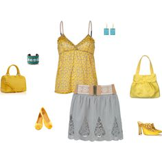 """Light Autumn Soft - yellow/grey/aqua inspiration"" by adriana-cizikova on Polyvore"