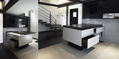 Versatile Container of Information and Functionality: Sliding Desk by Minimal Cucine - black and white to a new extreme freshome.com