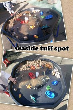 Seaside tuff spot. Eyfs Activities, Work Activities, Sensory Boxes, Sensory Play, Lighthouse Keepers Lunch, Tuff Spot, Black Tray, Tuff Tray, Sand Play