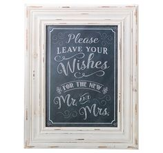This Black Wishes Framed Sign will add to the reception decor. Place it near the wish cards and wish box to compliment them.