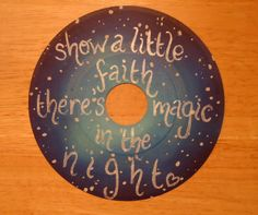 Bruce Springsteen lyrics -There's Magic In The Night  Painted Vinyl Record by valderie, $15.00