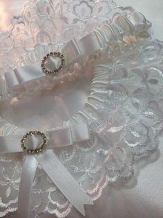 "The "" Aurora "" White Garter Set. Ships worldwide. Wedding Garters of distinction. https://www.etsy.com/listing/200439113/the-aurora-white-garter-set"