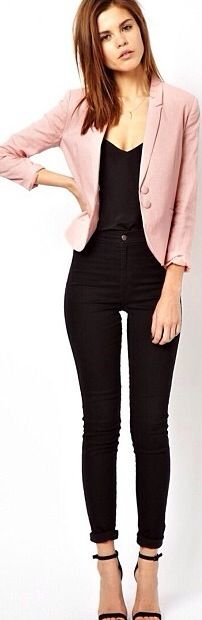 With a pink cardigan instead of blazer