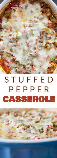 EASY Stuffed Pepper Casserole is baked in the oven for a cheesy dinner meal! This dish uses my Mother's famous stuffed pepper recipe but I turned it into a casserole to make it quicker. It's filled with ground beef, green peppers, diced tomatoes, rice and Potatoe Casserole Recipes, Casserole Dishes, Casserole Ideas, Taco Casserole, Dinner Casserole Recipes, Recipes Dinner, Stuffing Casserole, Unstuffed Pepper Casserole, Easy Casserole Recipes For Dinner Beef