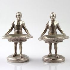 Fine Pair Of Blackamoor Figural Silver Plated Table Salt Cellars #England