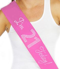 "Rhinestone  ""I'm 21 Today"" Pink Sash - 21st Birthday Sash, 21st Birthday, Birthday Party"