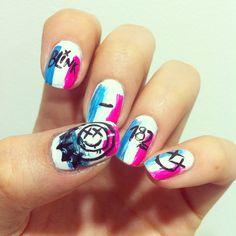 blink 182 nails, nail art, punk , crappy punk rock , band nails