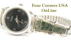 Four Corners USA Online - Women's Green Turquoise Inlay Sterling Watch with Black Face Native American Jewelry Steve Francisco , $97.00 (http://stores.fourcornersusaonline.com/womens-green-turquoise-inlay-sterling-watch-with-black-face-native-american-jewelry-steve-francisco/)