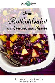 Unser Rotkohlsalat mit Apfel ist der Hit in der Familie. Er wird gerne als Beilage zu schweren Fleischgerichten gegessen oder als Rohkost Salat zum Mittag. Der saftige Rotkohlsalat ist vegan, lowcarb und dazu noch gesund, Er steckt voller Vitamine. Du kannst ihn mit Walnüssen ergänzen oder Granatapfelkerne darüber streuen. Ein perfekter Salat zu Weihnachten und generell in der Winterzeit.    Rotkohlsalat Rezept DDR   Rotkohl Salat Rohkost Dips, Cabbage, Vegetables, Christmas, Food, Eating Raw, Apple Recipes, Side Dish, Advent Season
