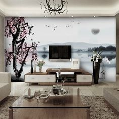 10 Living Room Designs With Unexpected Wall Murals | Pinterest ...