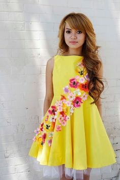 Yellow Dress  Pink Orange Flowers Bow on Back Cutout by ChicShip, $200.00