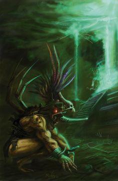 Aztec Putrefaction by RUBArt.deviantart.com on @deviantART Aztec Warrior, Chicano Art, Necromancer, Weird Art, Dieselpunk, Fantasy World, Mythical Creatures, Deviantart, Mythology