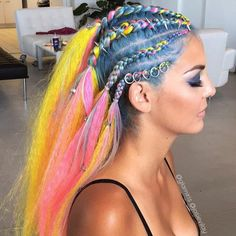 Neon braids featuring Regal Rose hair rings, hair bead clickers and hair spikes by iris ulburghs Creative Hairstyles, Funky Hairstyles, Braided Hairstyles, Dreads, Circus Hair, Carnival Hair, Rave Hair, Festival Braid, Pulp Riot Hair Color