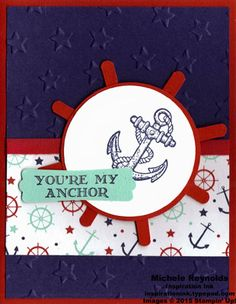 """Handmade masculine card using Stampin' Up! products - Guy Greetings Stamp Set, Maritime Designer Series Paper, Lucky Stars Embossing Folder, Circles Collection Framelits, 1/4"""" Cotton Ribbon, Modern Label Punch, and 2-1/2"""" Circle Punch.  By Michele Reynolds, Inspiration Ink, http://inspirationink.typepad.com/inspiration-ink/2015/04/guy-greetings-class-follow-up.html.  #stampinup #inspirationink #guygreetings"""