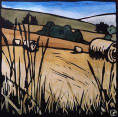 Tasmanian Summer Lino Print - Hay Bales 2