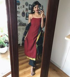 Image may contain: 1 person, standing, phone and selfie Casual Indian Fashion, Indian Fashion Dresses, Dress Indian Style, Indian Gowns, Indian Attire, Indian Wear, Fashion Outfits, Party Wear Indian Dresses, Indian Wedding Outfits