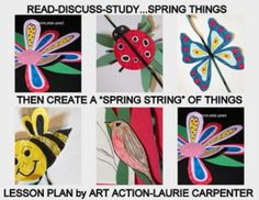 """""""SPRING ON A STRING"""" AN EASY-ART CRAFTIVITY - TeachersPayTeachers.com ADDITIONAL IDEAS JUST ADDED to a fun spring art activity that can be completed easily in the classroom, home school, or art room. Patterns and many photos are supplied to help create the items on the string. This lesson plan provides a fun project for quiet, independent seatwork. http://www.teacherspayteachers.com/Product/Spring-Swing-An-Easy-art-Craftivity-1204337"""