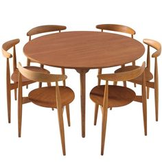 Hans Wegner Dining Set with Heart Chairs | From a unique collection of antique and modern dining room sets at https://www.1stdibs.com/furniture/tables/dining-room-sets/