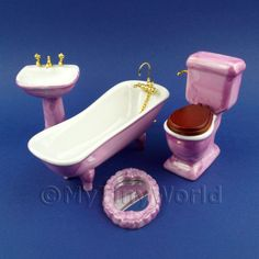 Dolls House Miniature  | Dolls House Miniature Pink Bathroom Suite