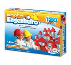 5279.8 - Brincando de Engenheiro 120 peças | Com 120 peças em madeira. | Faixa etária: + 3 anos | Medidas: 31 x 6 x 23,5 cm | Educativos | Xalingo Brinquedos | Crianças