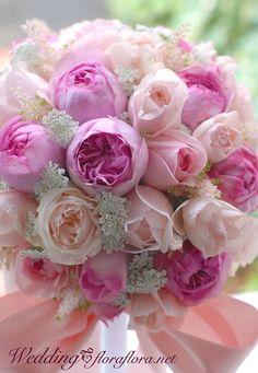 バラ イブミオラ、ユカカップ、ビオリーチェ、ペオニーピンクのリボンブーケ 12月2度目の月曜日にの画像:FLORAFLORA*precious flowers*ウェディングブーケ会場装花&フラワースクール*