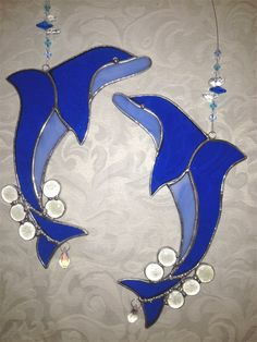 Dolphin Stained Glass Suncatcher | Stained Glass Gift Shop. Find me on Facebook at www.facebook.com/stainedglassgiftshop
