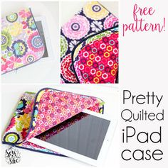 Remember this? My Pretty Quilted iPad case that I promised you a sewing  pattern for so so long ago? Well I finally have it ready!
