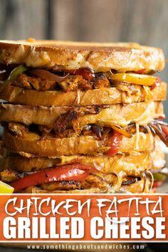 Chicken Sandwich Recipes, Grilled Cheese Recipes, Yummy Chicken Recipes, Yummy Food, Grilled Cheese Sandwiches, Diner Recipes, Mexican Food Recipes, Cooking Recipes, Fajita Grill