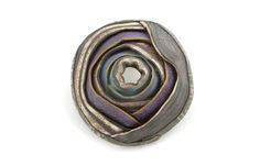 "Ford/Forlano, O'Keeffe Pin (015)  2008, 3 x 3 x ¾"", polymer clay, sterling silver, $ 350. Patina Gallery"