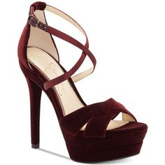 Jessica Simpson Roxelle Platform Velvet Dress Sandals (270 RON) ❤ liked on Polyvore featuring shoes, sandals, heels, rouge noire velvet, strappy dress sandals, strap heel sandals, platform heel sandals, crisscross sandals and criss cross strap sandals