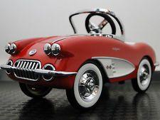 Pedal Car 1959 Corvette Chevy Vintage Sport Hot Rod Midget Metal Show Model Red