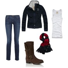 Fall, created by #mrscosentino on #polyvore. #fashion #style Hollister Co. Citizens of Humanity ♥