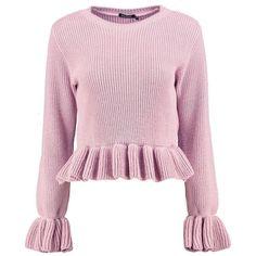 Boohoo Abigail Ruffle Hem & Sleeve Crop Jumper | Boohoo ($22) ❤ liked on Polyvore featuring tops, sweaters, chunky sweaters, chunky turtleneck sweater, turtleneck sweater, pink sweater and pink knit sweater