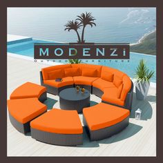 MODENZI DELUXE 9R DarkBrown Wicker outdoor Sofa Patio Furniture Set Couch Chair