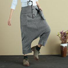 Stylish High Waist Women Loose Causal Gray Pants - Buykud