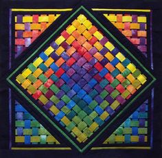 Woven Rainbow - Quilt kit from Conundrum Quilts. 3d Quilts, Barn Quilts, Mini Quilts, Applique Quilts, Quilting Projects, Quilting Designs, Quilting Ideas, Ribbon Quilt, Quilt Modernen