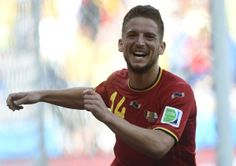 Belgium Rallies Past Algeria 2-1 To Pass First World Cup Test - Belgium's forward Dries Mertens celebrates after scoring during a Group H football match between Belgium and Algeria at the Mineirao Stadium in Belo Horizonte during the 2014 FIFA World Cup on June 17, 2014.