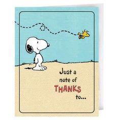 Snoopy Thank You Notes - the best way to end a #party is with gratitude. #snoopy #peanuts