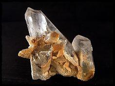 Wunderschöne Bergkristallstufe mit Calcit und Anthraxolit aus Arkansas USA, Größe ca.70x67x30mm