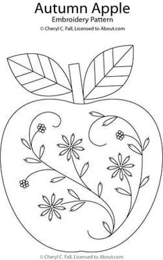 Stitch an Autumn Apple in Hand Embroidery.  Stitch on red felt and use around the edge of a candle mat.