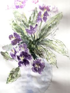 Primrose. Quick watercolour sketch. W&N sketchbook, A3. All rights reserved.