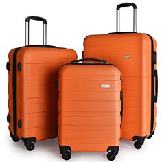 Luggage Sets Collections | Luggage Set Spinner Trolley Suitcase Hard Shell Carry On 20 24 28 Orange >>> Details can be found by clicking on the image. Note:It is Affiliate Link to Amazon. #school