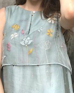 Painted transparent layer over plain dress Embroidery On Kurtis, Kurti Embroidery Design, Embroidery Dress, Dress Neck Designs, Stylish Dress Designs, Blouse Designs, Salwar Designs, Kurta Designs Women, Kurta Patterns