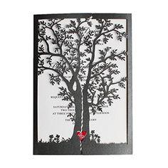Black Wedding Invitations, Tree Invitations, Red Heart Wedding Invitation Cards