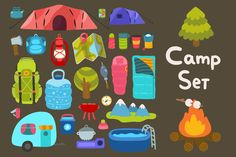 Camp set by kostolom3ooo on Creative Market