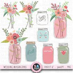 "Mason jar Clipart ""WEDDING MASON JAR""clip art pack, Vintage Flowers,Hand Draw,Wedding Flora,Wedding invitation Instant Download Wf014 on Etsy, $5.00"