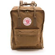 Fjallraven Kanken Backpack (€70) ❤ liked on Polyvore featuring bags, backpacks, backpack, accessories, sand, fjallraven bag, sand bags, rucksack bag, fjällräven and logo bags