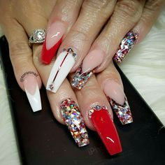 That white nail with the red strip and jewel love it- without the jewels at top though. and then similar alternating though instead of the glitter and jewels just the red and white tips with the two full solid nails in the middle. Somthin' like that!