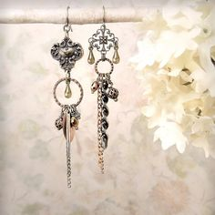 Timespun OOAK Tribal Assemblage Goddess Earrings, Mixed Metals by MiaMontgomery