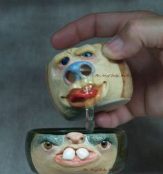 EGG WHITE SEPARATOR - Wheel thrown, hand altered and sculpted, stoneware. Just a friendly face to join you in your culinary adventures.